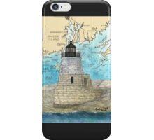 Castle Hill Lighthouse RI Nautical Chart Cathy Peek iPhone Case/Skin