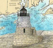 Castle Hill Lighthouse RI Nautical Chart Cathy Peek by Cathy Peek
