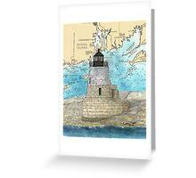 Castle Hill Lighthouse RI Nautical Chart Cathy Peek Greeting Card