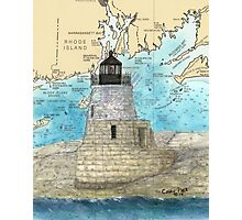 Castle Hill Lighthouse RI Nautical Chart Cathy Peek Photographic Print
