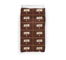 Retro Library Card Catalog Drawers with Author Names Duvet Cover