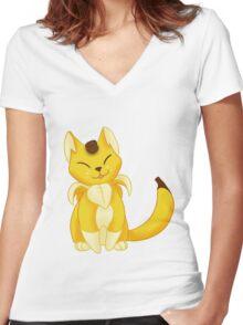 FRUIT CATS: Banyanya Women's Fitted V-Neck T-Shirt
