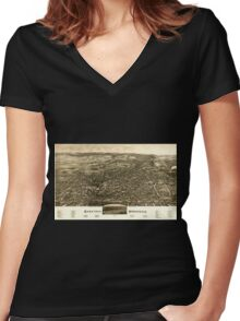 Panoramic Maps Saratoga Springs NY 1888 Women's Fitted V-Neck T-Shirt