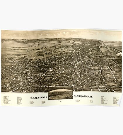 Panoramic Maps Saratoga Springs NY 1888 Poster