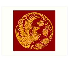 Traditional Yellow Chinese Phoenix Circle Art Print
