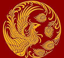Traditional Yellow Chinese Phoenix Circle by Jeff Bartels