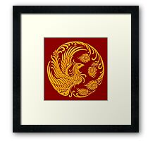 Traditional Yellow Chinese Phoenix Circle Framed Print