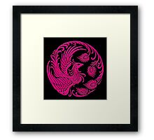 Traditional Pink Chinese Phoenix Circle Framed Print