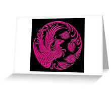 Traditional Pink Chinese Phoenix Circle Greeting Card