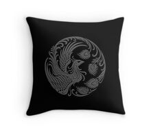 Traditional Dark Chinese Phoenix Circle Throw Pillow