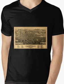 Panoramic Maps Bird's eye view of Butte-City Montana county seat of Silver Bow Co 1884 Mens V-Neck T-Shirt
