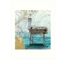 Chesapeake Lighthouse VA Nautical Map Cathy Peek Art Print