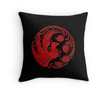 Traditional Red Chinese Phoenix Circle Throw Pillow
