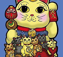Lucky Cat and Kittens - Maneki Neko by Littledasypus