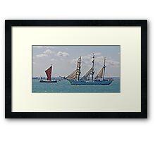 Ships that Pass Framed Print
