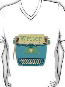 Retro Typewriter for Writers Mid-Century Modern Aqua Blue T-Shirt