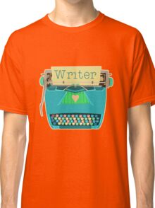Retro Typewriter for Writers Mid-Century Modern Aqua Blue Classic T-Shirt