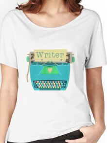 Retro Typewriter for Writers Mid-Century Modern Aqua Blue Women's Relaxed Fit T-Shirt