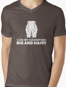 I Like My Ceratopsids Big and Hairy (white on dark) Mens V-Neck T-Shirt