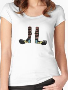 Cool Cute Funny Clown Feet Women's Fitted Scoop T-Shirt