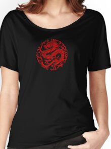 Traditional Red Chinese Dragon Circle Women's Relaxed Fit T-Shirt