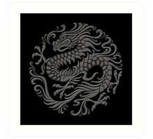 Traditional Dark Chinese Dragon Circle Art Print