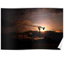 Crane at Sunset  Poster