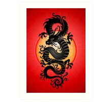 Black Chinese Dragon on Red Art Print