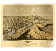 Panoramic Maps Birds eye view of the city of Grand Haven Ottawa Co Michigan 1868 Poster