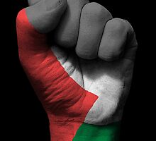 Flag of Palestine on a Raised Clenched Fist  by Jeff Bartels