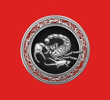 Treasure Trove - Sacred Silver Scorpion on Red Unisex T-Shirt