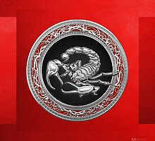 Treasure Trove - Sacred Silver Scorpion on Red by Serge Averbukh