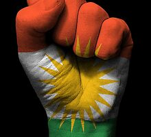 Flag of Kurdistan on a Raised Clenched Fist  by Jeff Bartels