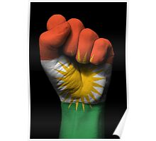 Flag of Kurdistan on a Raised Clenched Fist  Poster