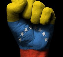 Flag of Venezuela on a Raised Clenched Fist  by Jeff Bartels