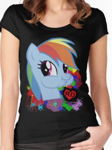 Rainbow Dash Splatter Heart Women's Fitted Scoop T-Shirt