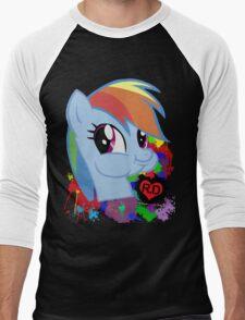 Rainbow Dash Splatter Heart Men's Baseball ¾ T-Shirt
