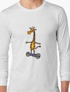 Funny Giraffe on Motorized Segway Skateboard Long Sleeve T-Shirt