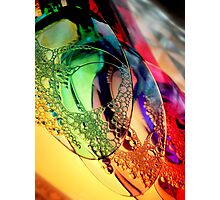Plastic coloured spoons in water Photographic Print