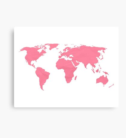 Simple Pink World Map Canvas Print