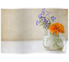 Marigold and Lobelia in a jar vase Poster