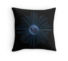 Blue Burst Moon Throw Pillow
