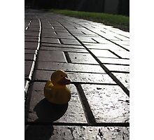 Yellow Rubber Duck On A Red Brick Road Photographic Print