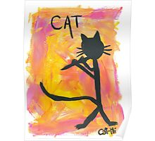 Kitty silhouette playing flute Poster