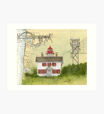 Yaquina Bay Lighthouse OR Nautical Map Cathy Peek Art Print