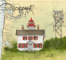 Yaquina Bay Lighthouse OR Nautical Map Cathy Peek by Cathy Peek