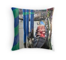 blue and green stripes Throw Pillow