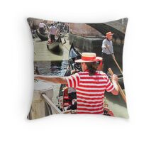 many gondolas in the canal Throw Pillow