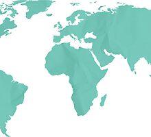 Simple Teal World map by adventureliela