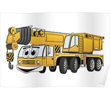 Short Yellow Cartoon Crane Poster